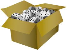 Playing dices in the cardboard box Royalty Free Stock Images