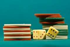 Playing dices and chips Royalty Free Stock Image
