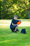 Playing disc golf Royalty Free Stock Image