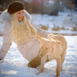 Playing with dog. Young woman playing with dog Royalty Free Stock Photography