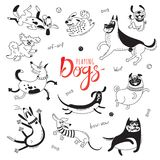 Playing dogs. Funny lap-dog, happy pug, mongrels and other breeds. Set of isolated vector drawings for design royalty free illustration