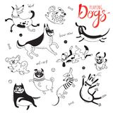 Playing dogs. Funny lap-dog, happy pug, mongrels and other breeds. Set of isolated vector drawings for design.  royalty free illustration