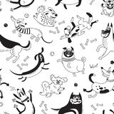Playing dogs seamless pattern. Funny lap-dog, happy pug, mongrels and other breeds. Vector background for design royalty free illustration