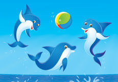 Playing dolphins. Dolphins jumping out from water play with a multicolor ball Stock Image