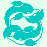 Playing dolphins cartoon drawing Royalty Free Stock Photo