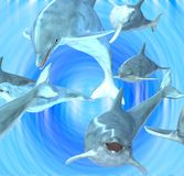 Playing Dolphins in a swirl. Dolphins swimming around, computer generated Royalty Free Illustration