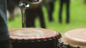 Playing on the drum stock footage