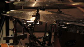 Playing with the drum cymbals set Stock Photo