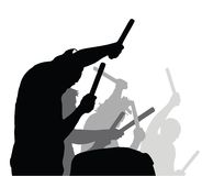 Playing drums action - vector. Illustration Royalty Free Stock Photos