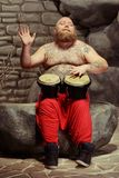 Playing drums and loving it Stock Image