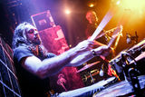 Playing drums. Motion Blur, musician playing drums on stage Stock Photos