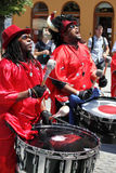 Playing drums and singing Royalty Free Stock Images