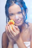 Playing with duckling in bathroom Royalty Free Stock Images