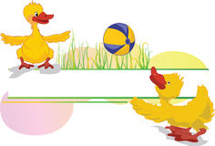 Playing ducks. Cartoon ducks playing with ball Stock Images