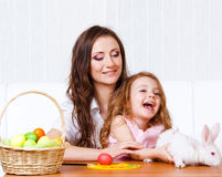 Playing with Easter bunny Stock Photos