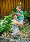 Playing During an Easter Egg Hunt Stock Image