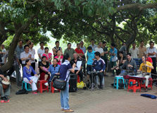 The playing the elderly band in SHENZHEN SIHAI park Royalty Free Stock Photo