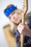 Playing electric guitar hand detail Royalty Free Stock Images