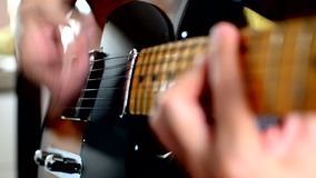 Playing on Electric Guitar. Close up stock video