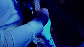Playing electric guitar. Close-up hd stock footage