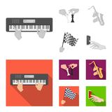 Playing on an electric musical instrument, manipulation with chess pieces and other web icon in monochrome,flat style. Playing on an electric musical instrument Stock Images