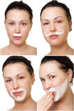 Playing with face cream Stock Images