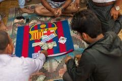 Playing Falash (Teen Pathi) in Nepal stock photo