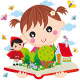 Playing with fantasy. Illustration of little girl with fable book Stock Image