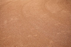 Playing field. Baseball or softball field that's been graded and smoothed out so it's ready for a game stock image