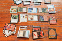 Playing field of card game Magic The Gathering Stock Images