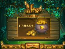 Playing field mega win window Shadowy forest GUI Royalty Free Stock Images