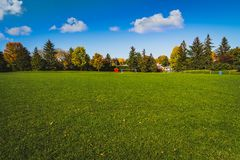 Playing field in park Joliecoeur. Wonderful afternoon at playing field in park Jolicoeur, Gatineau, Quebec, Canada Stock Image
