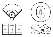 Playing Fields Icons Set 9 Royalty Free Stock Photography