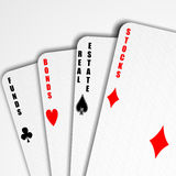 Playing with finance. Playing cards representing abstract of financial instruments (with clippig path Royalty Free Stock Photography