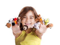 Playing with finger puppets Royalty Free Stock Image