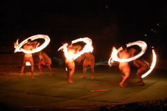 Playing with Fire. Polynesian Center Oahu Hawaii Luau Dinner September 2007 Royalty Free Stock Images