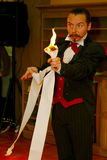 Playing with fire - a Performance by actor the illusionist. the magician a Roman Borsch. Royalty Free Stock Photography
