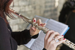 Playing Flute Royalty Free Stock Images