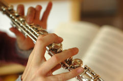 Playing the flute Royalty Free Stock Photo