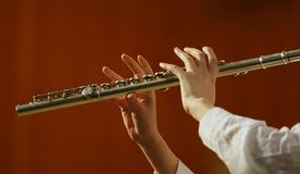 Playing the flute Royalty Free Stock Image
