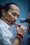 Playing flute Royalty Free Stock Photo