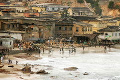 Playing football on Cape Coast foreshore Stock Image