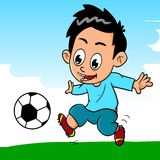 Playing football. Illustration of a boy playing soccer Stock Images