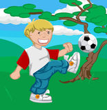 Playing football (or soccer !). A young boy happily playing soccer vector illustration