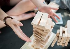 The tower from wooden blocks stock photos