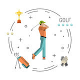 Playing game golf. Set of elements for the game of Golf is painted in flat style. Putter for Golf Stock Image