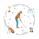 Playing game golf. Set of elements for the game of Golf is painted in flat style. Putter for Golf Royalty Free Stock Photos