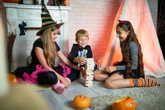 Playing Game at Halloween Party stock photography