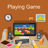 Playing game Illustration. Flat design. Royalty Free Stock Images