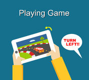 Playing game Illustration. Flat design. Royalty Free Stock Photos